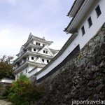 Stone Walls and Yagura at Gujo Hachiman Castle during Autumn