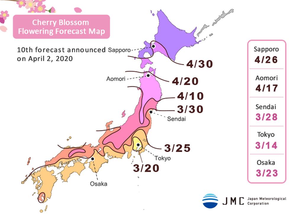 Japan Cherry Blossom Forecast Map 2020